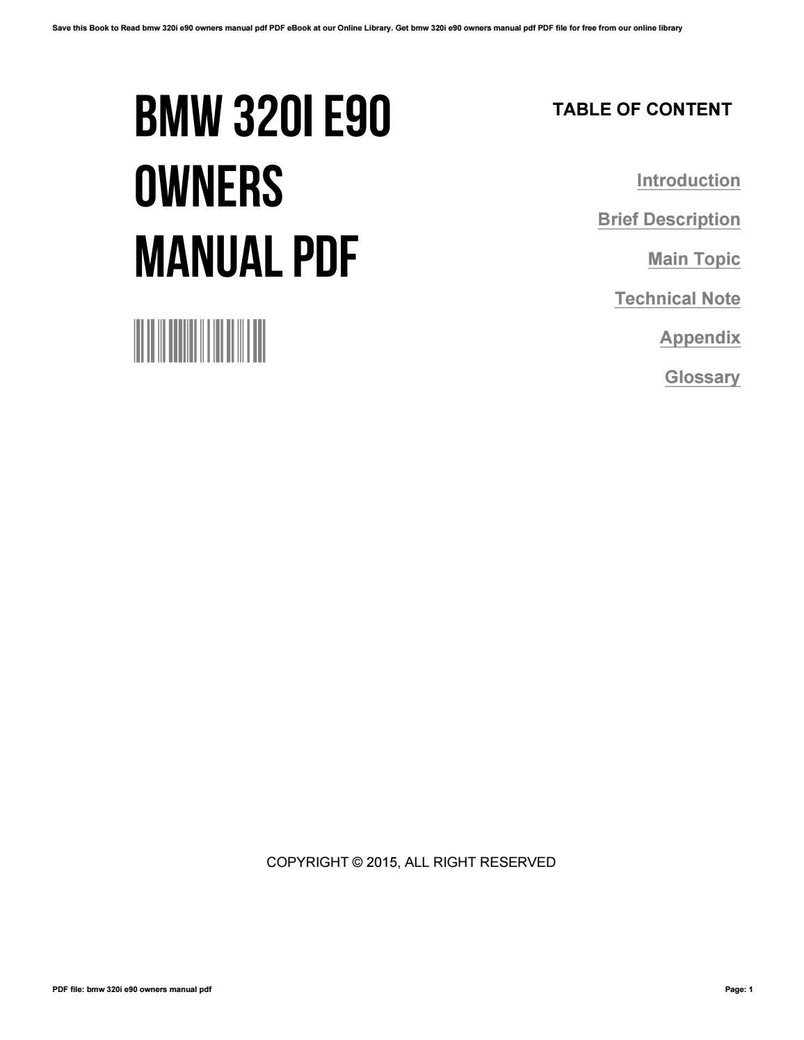 bmw 320i e90 owners manual pdf by charlesfunk4330