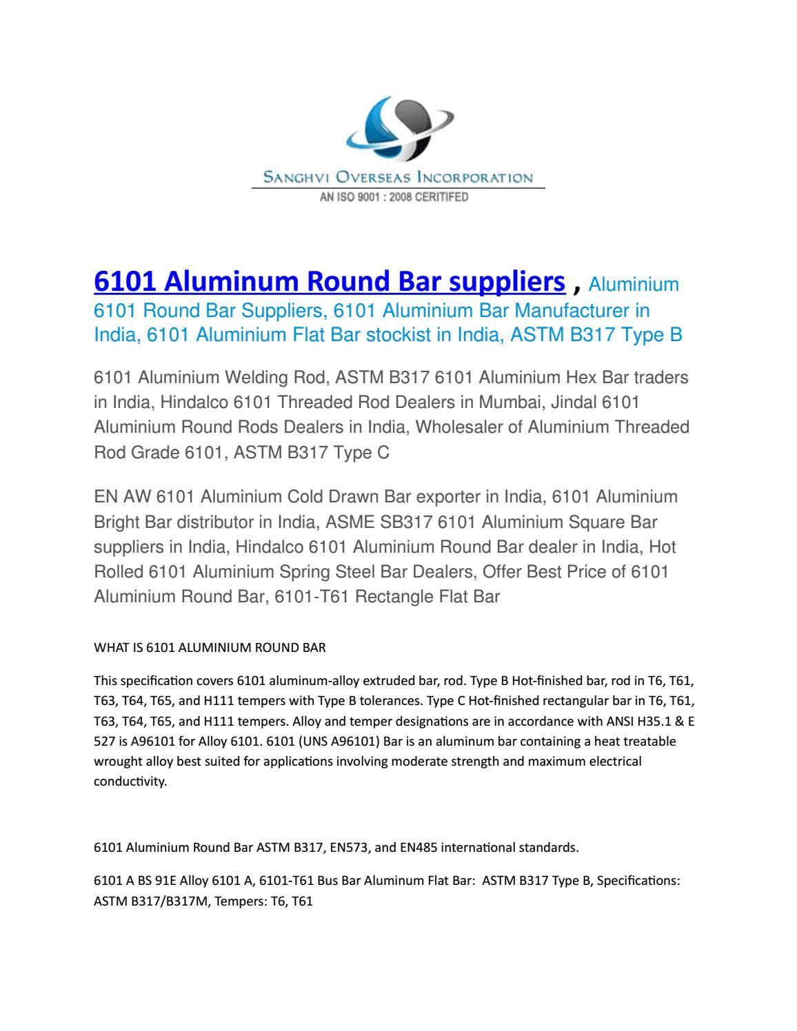 6101 aluminum round bar suppliers by sanghvioverseasinc - issuu