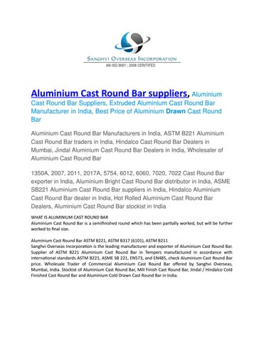 Aluminium cast round bar suppliers by sanghvioverseasinc - issuu