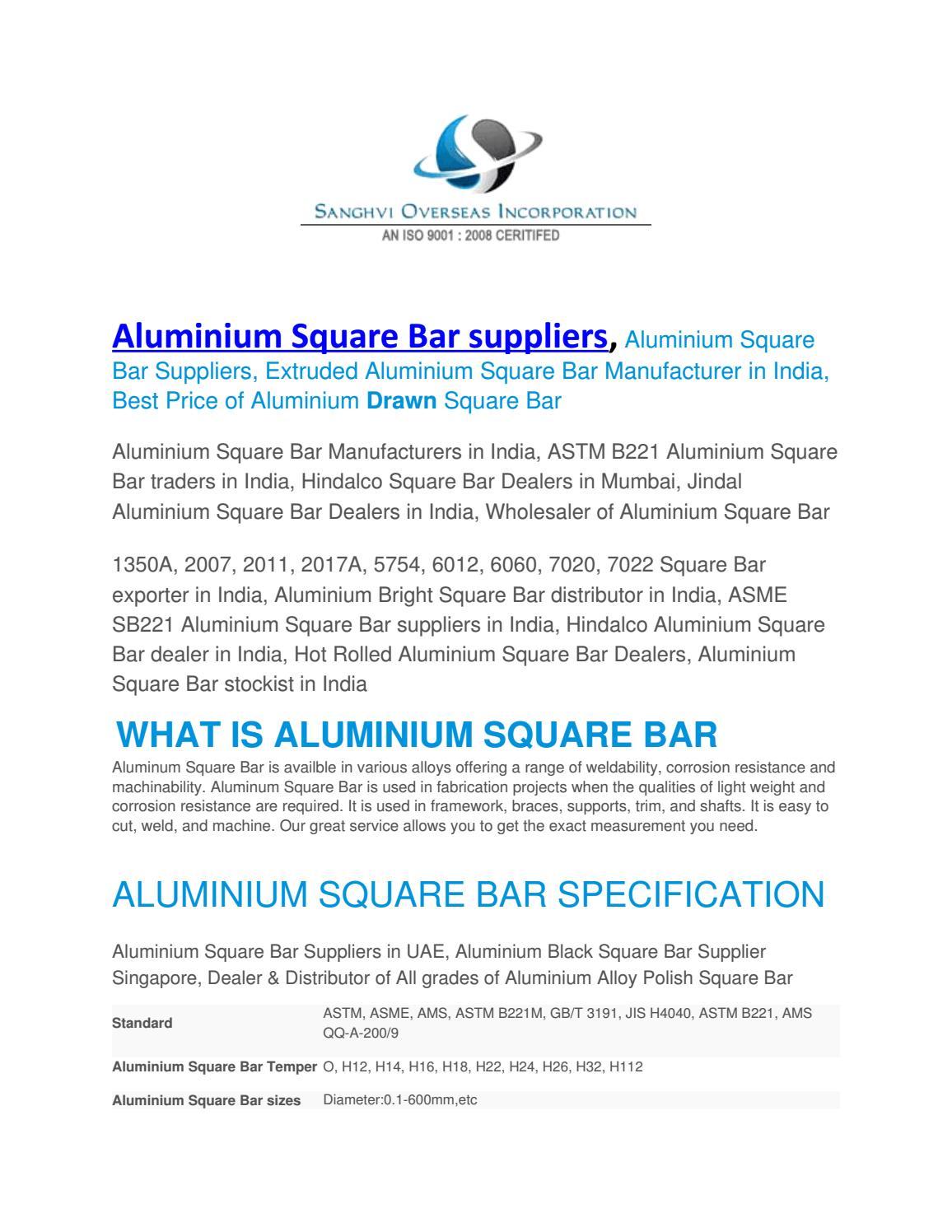 Aluminium square bar suppliers by sanghvioverseasinc - issuu