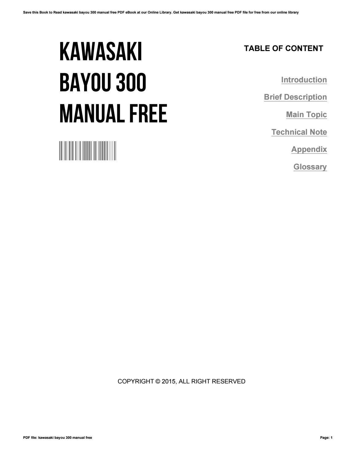 kawasaki bayou 300 manual free