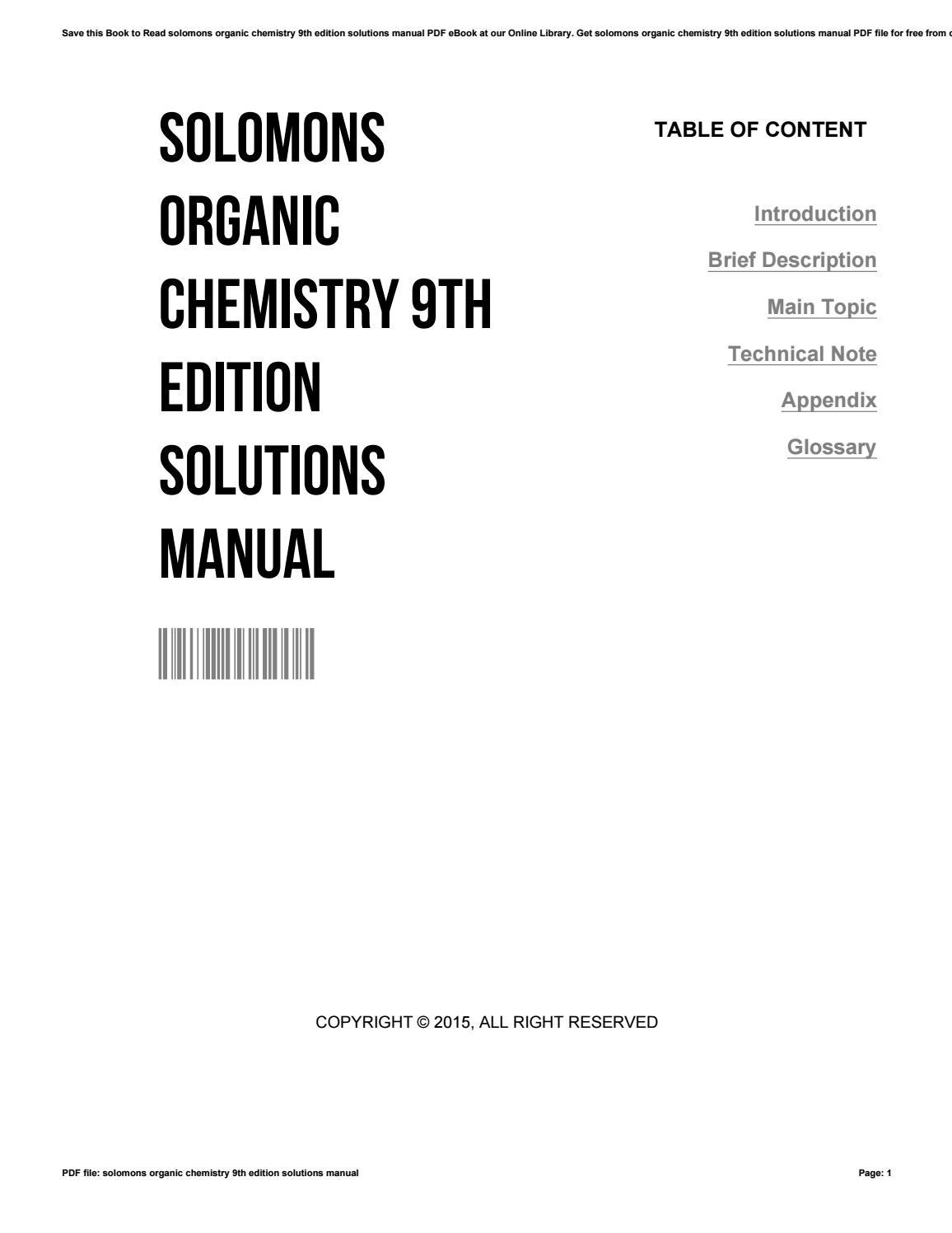 Solomons organic chemistry 9th edition solutions manual by EdwardBrown2524  - issuu
