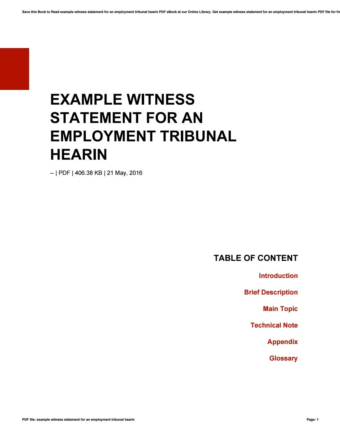 Example witness statement for an employment tribunal hearin by example witness statement for an employment tribunal hearin by tenarivera1758 issuu altavistaventures Choice Image