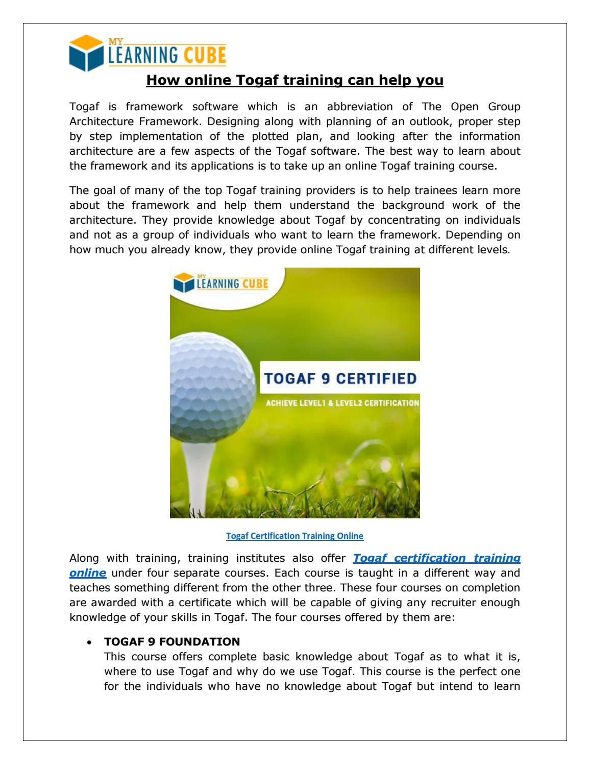 Togaf Certification Online Via Mylearningcube By Mylearningcube Issuu