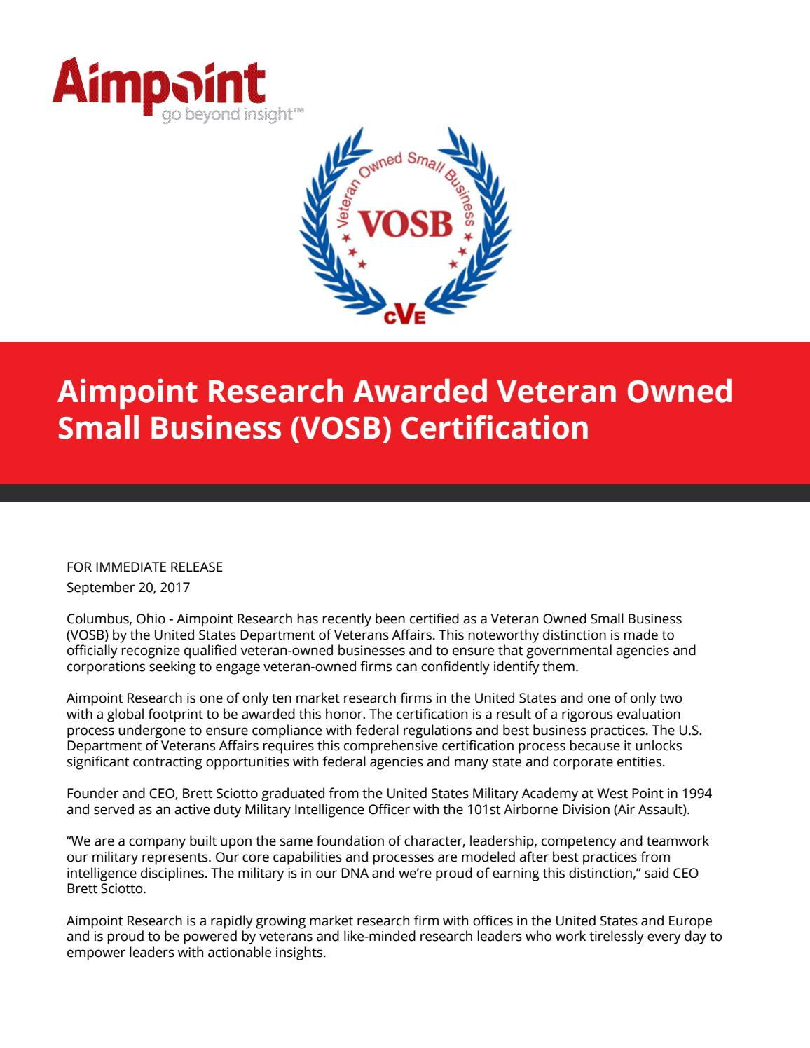 Aimpoint Awarded Veteran Owned Small Business Vosb Certification