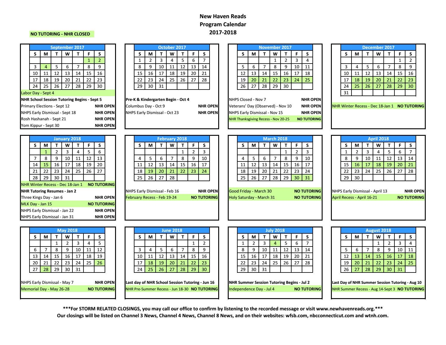 nhr-parent-calendar-2017-2018-2 by New Haven Reads - issuu