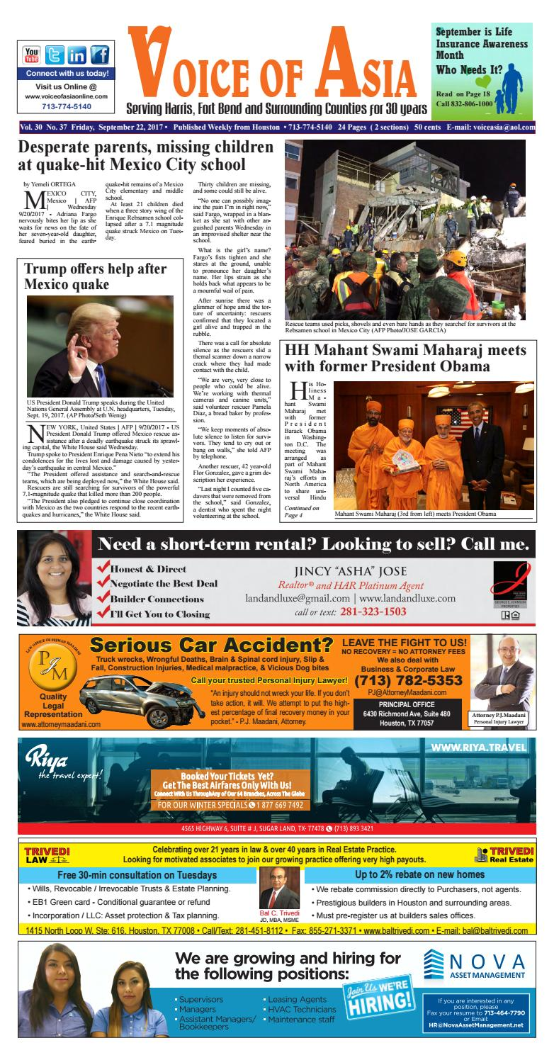 Voice of Asia e-paper Newsweekly Sept 22 2017 by VoiceOf