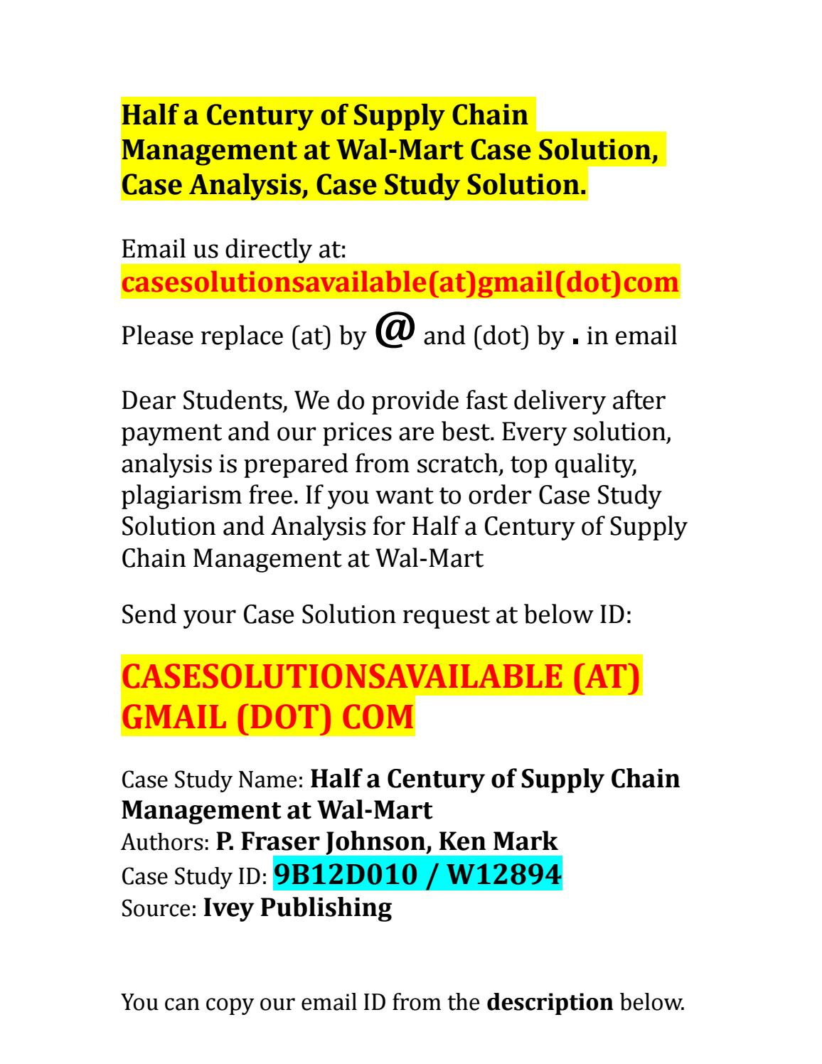 supply chain management at wal-mart case analysis