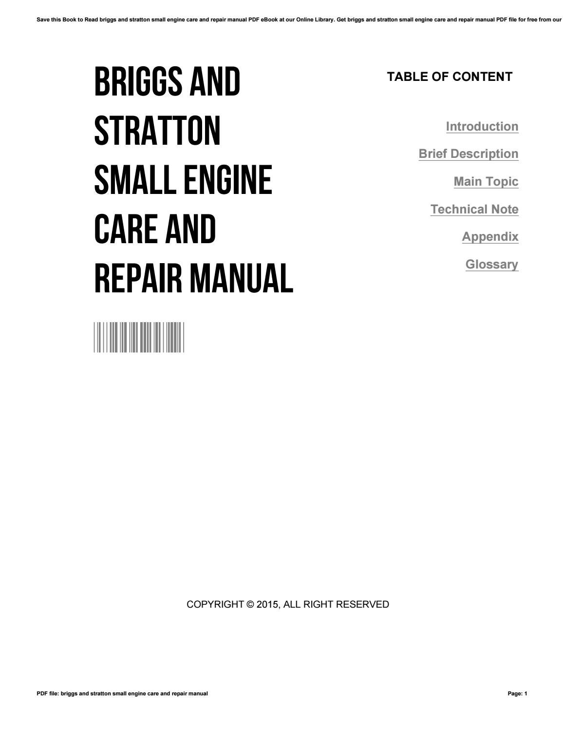 Briggs And Stratton Small Engine Care And Repair Manual By