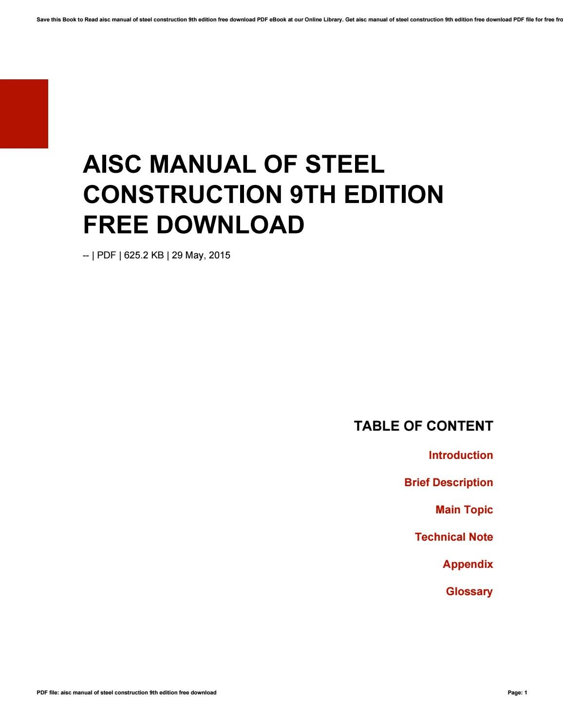 Aisc Manual Of Steel Construction 9th Edition Free