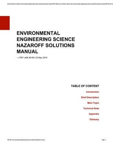 Environmental Engineering Science Nazaroff Solutions Manual