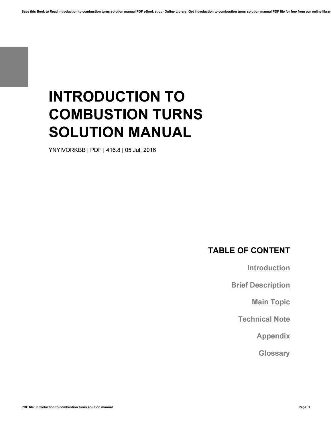 Introduction to combustion turns solution manual by JackiePeak4295 - issuu