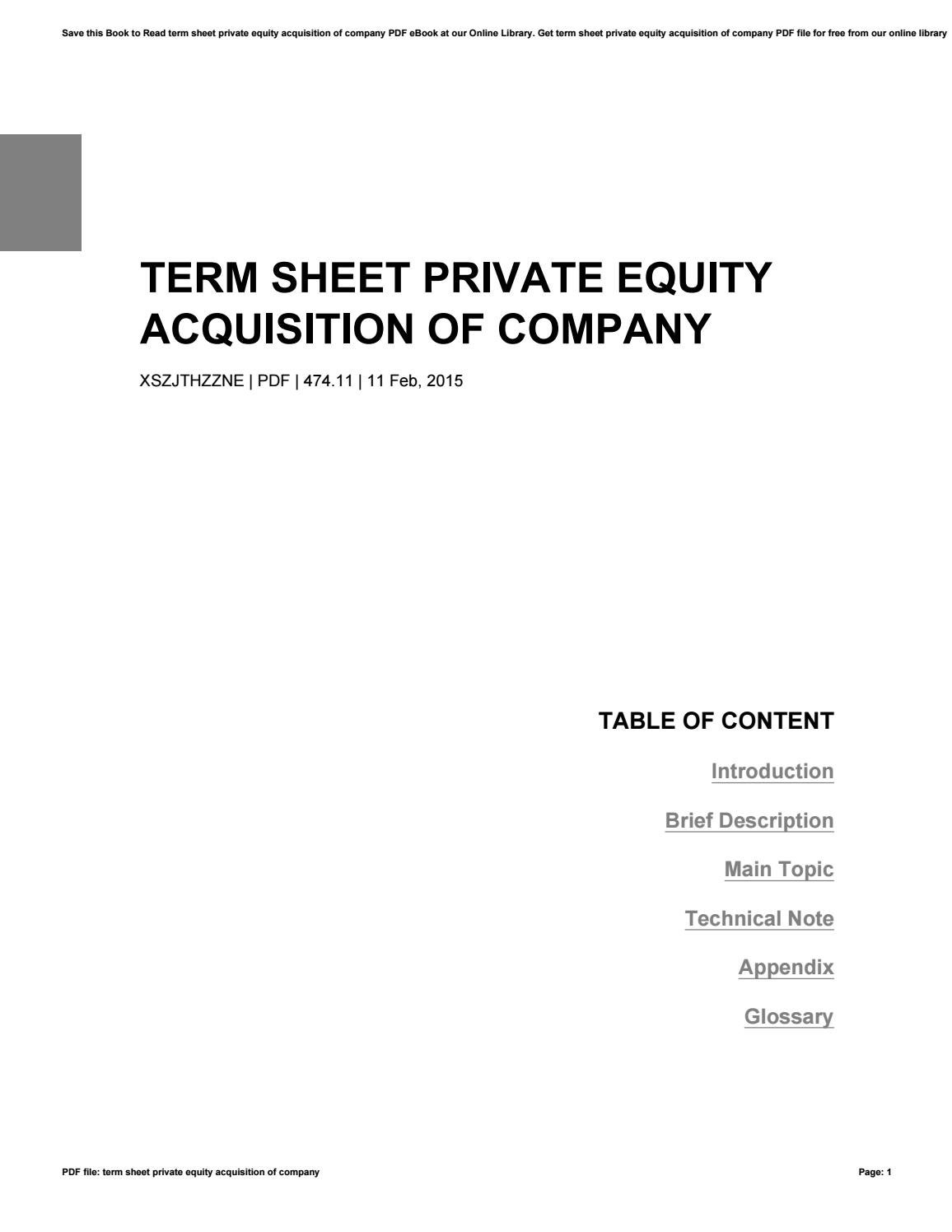 Term sheet private equity acquisition of company by