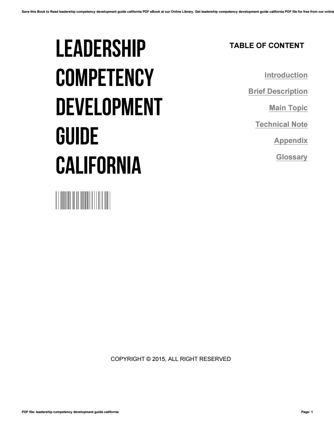 Leadership competency development guide california by ReneHellwig1859 -  issuu