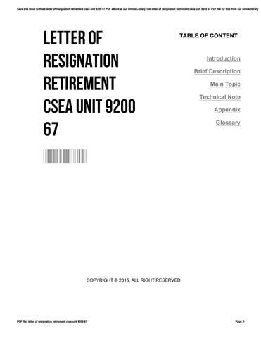 letter of resignation retirement