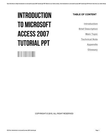 Microsoft Access 2007 Tutorial Pdf