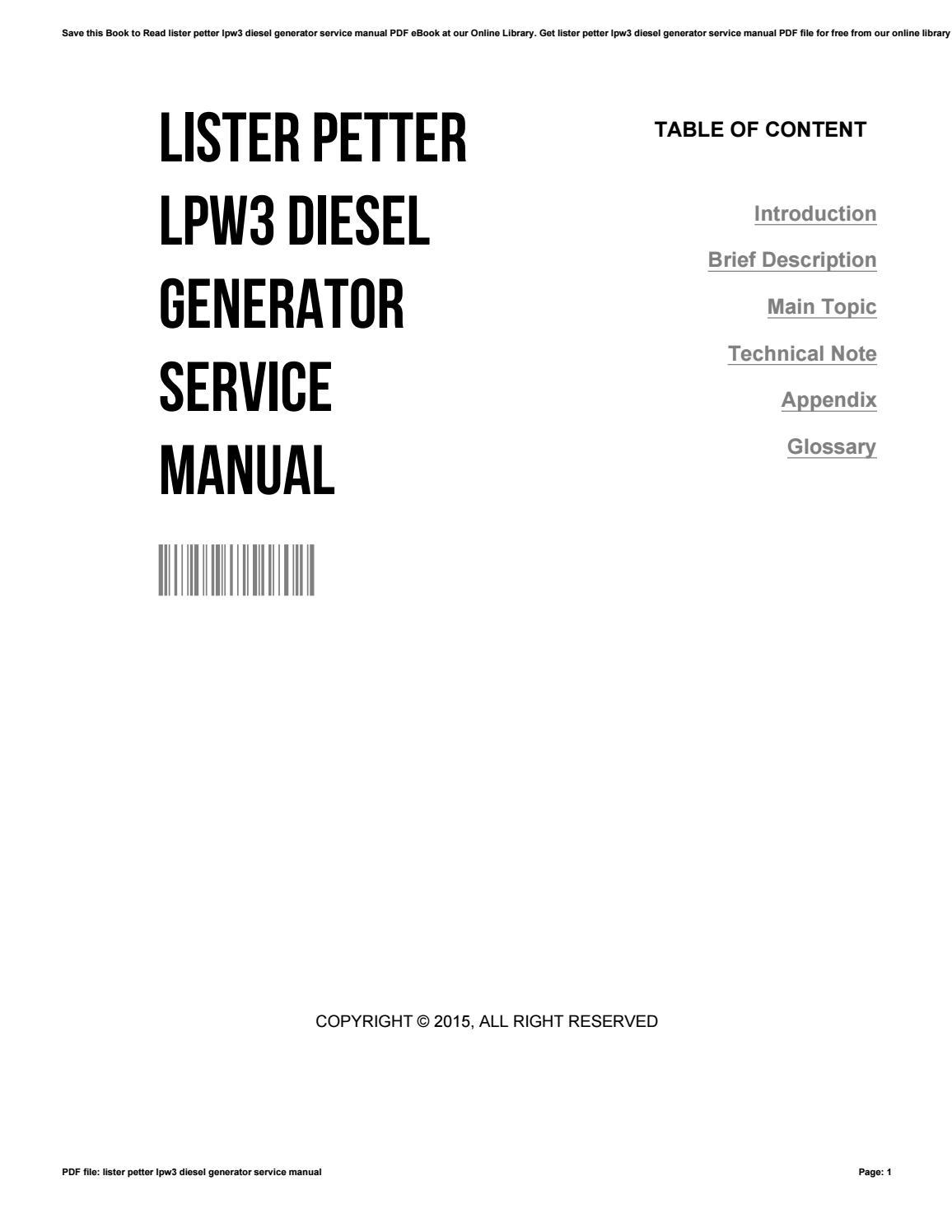 Lister petter lpw3 diesel generator service manual by IdaCornett2935 - issuu