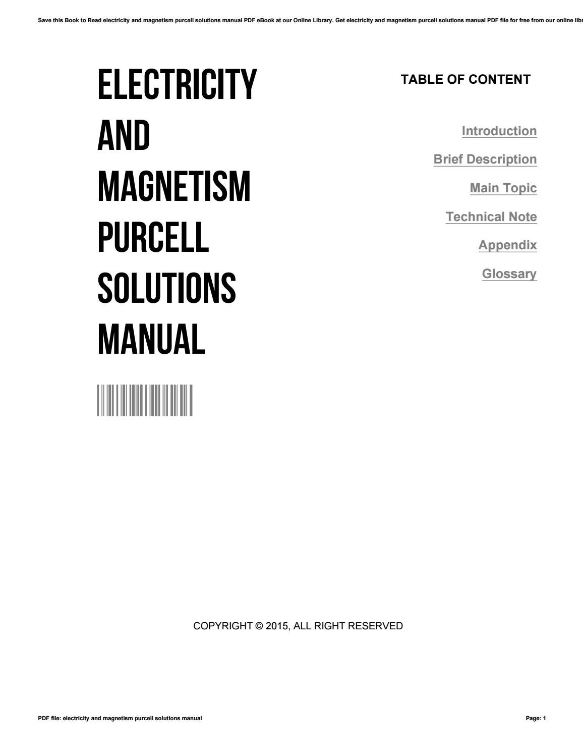 Electricity and magnetism purcell solutions manual by