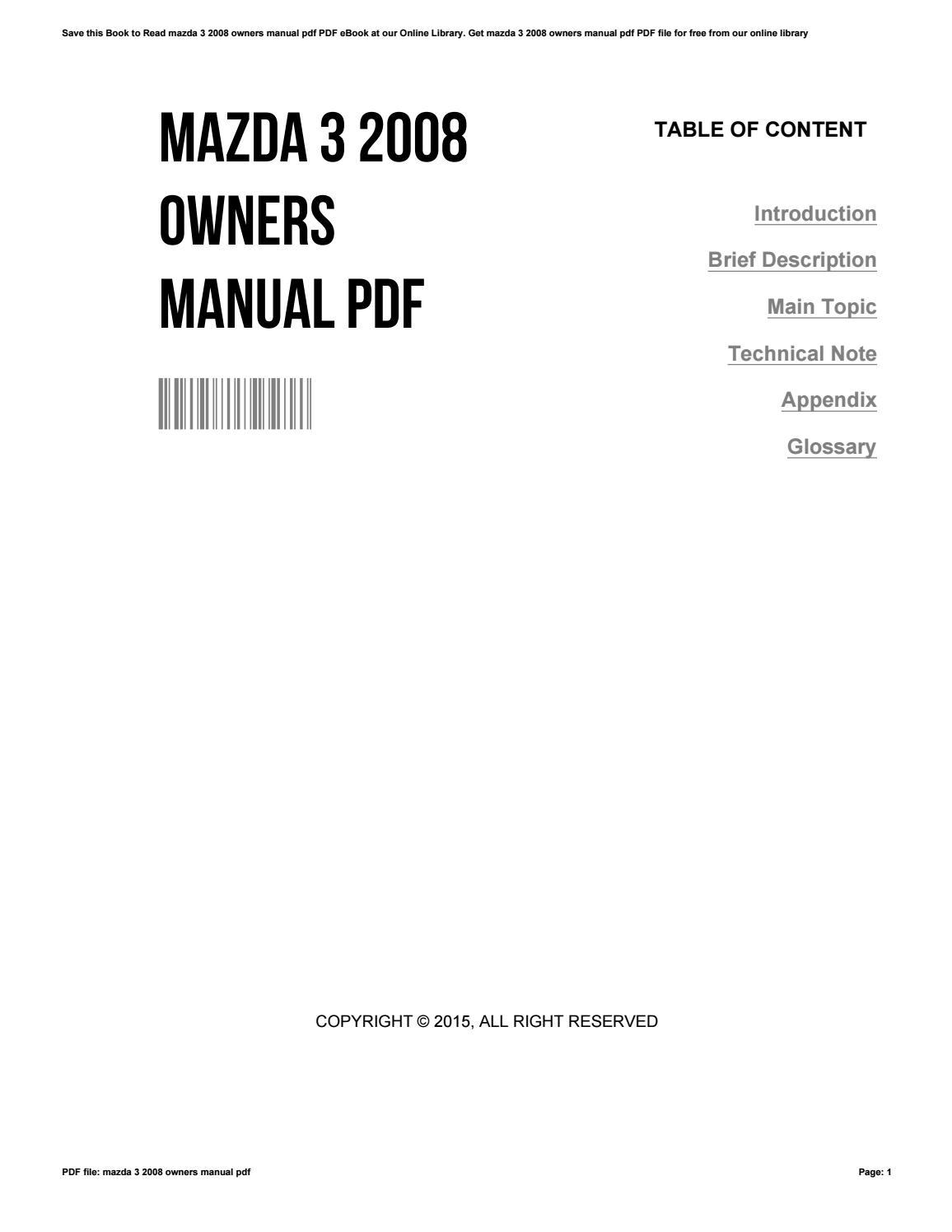Owners manual 2010 mazda 3.