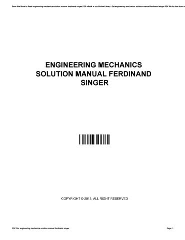 Engineering Mechanics By Ferdinand Singer Pdf