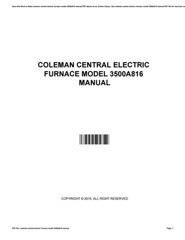 Coleman Central Electric Furnace Model