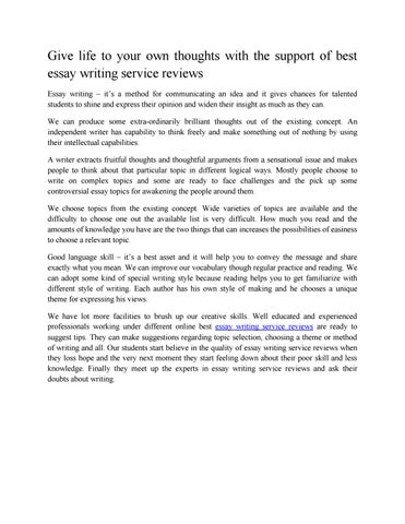 essay writing service reviews by bestessay issuu give life to your own thoughts the support of best essay writing service reviews essay writing it s a method for communicating an idea and it gives