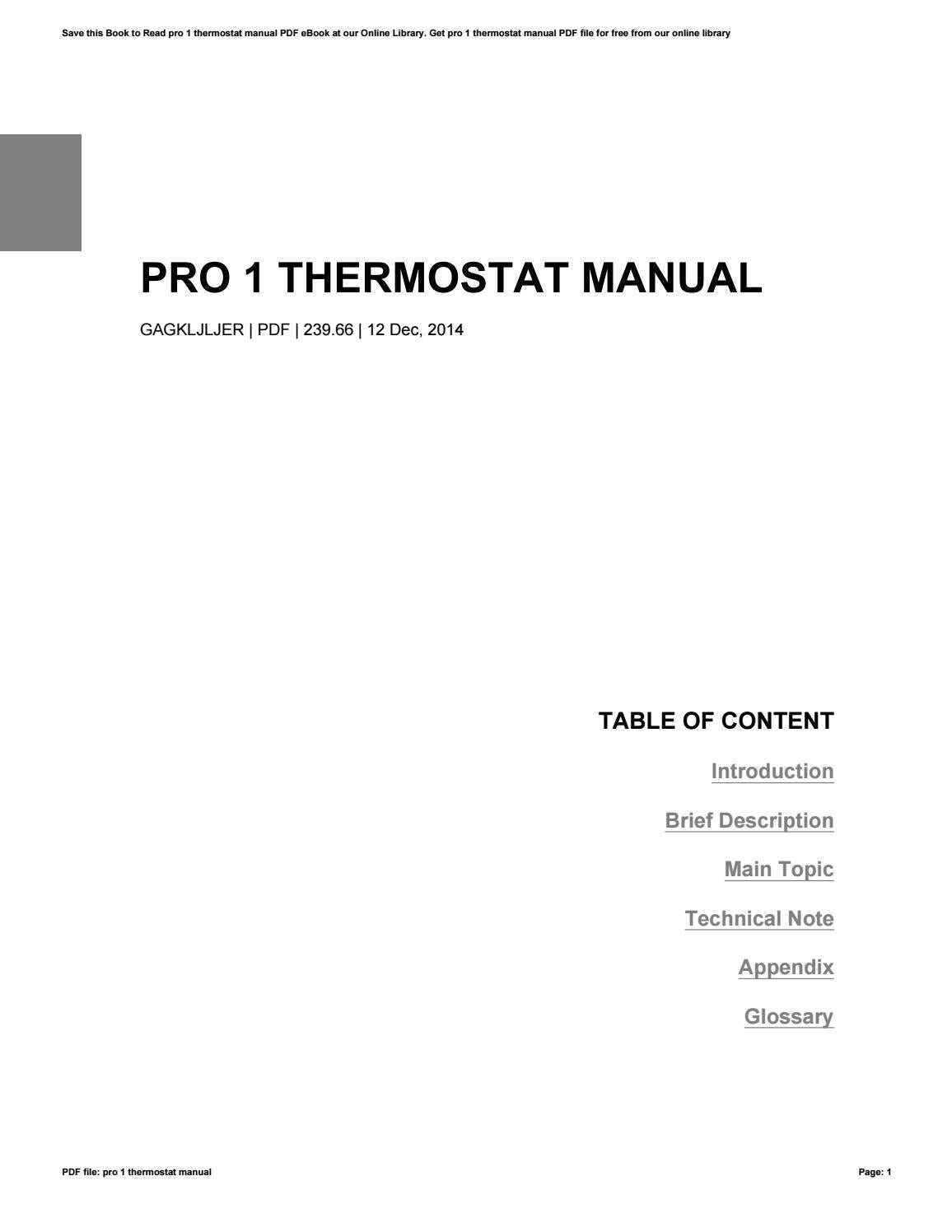 Pro 1 Thermostat Manual By Jasmia21siome Issuu