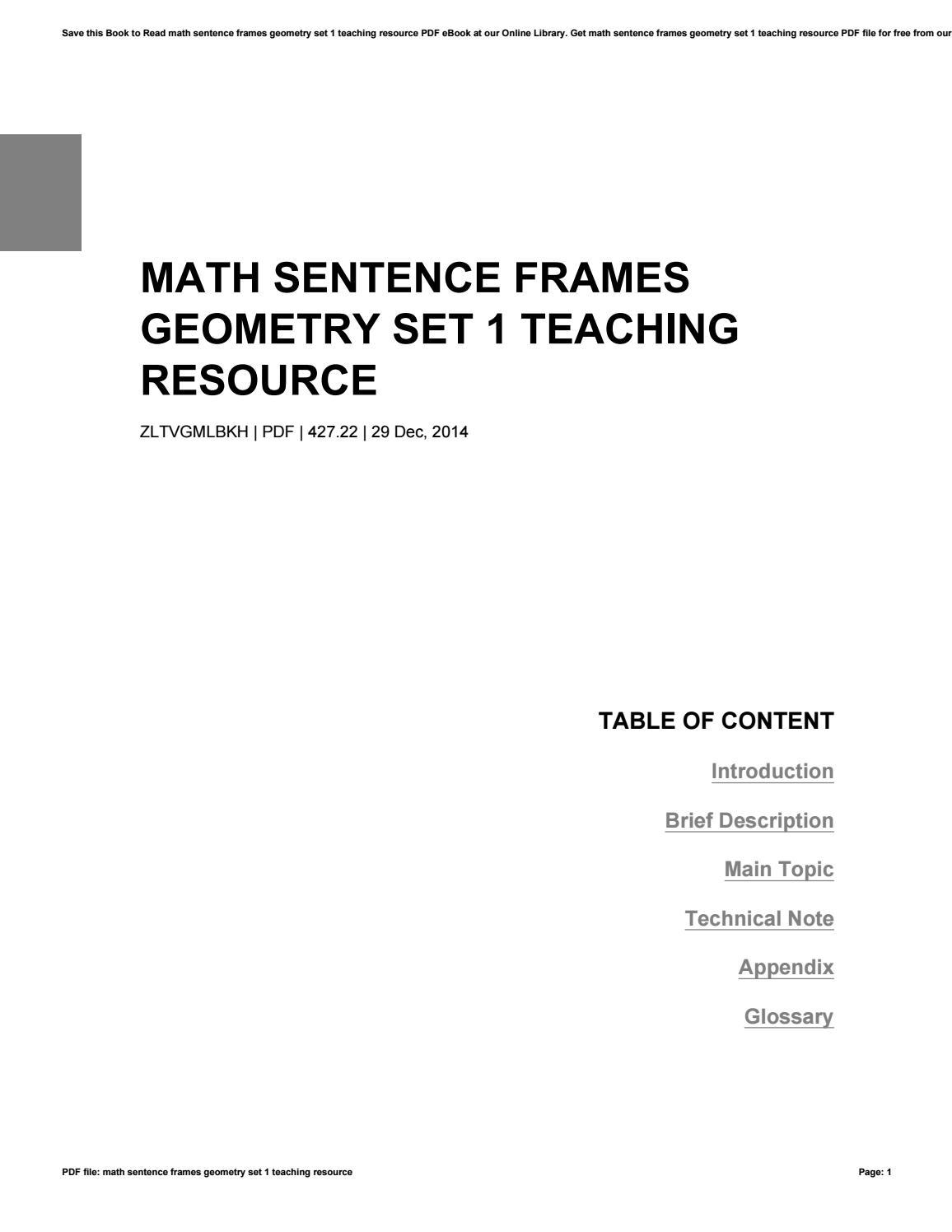 Math sentence frames geometry set 1 teaching resource by