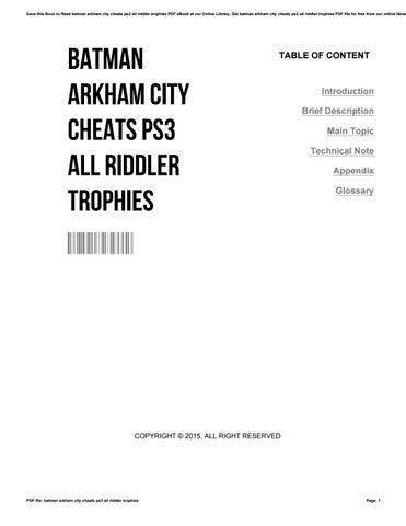 <b>Batman arkham city cheats</b> ps3 all riddler trophies by ...