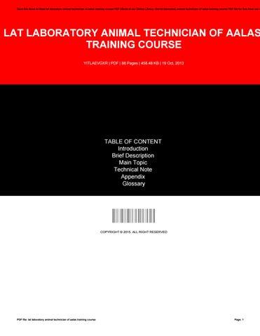 Lat laboratory animal technician of aalas training course