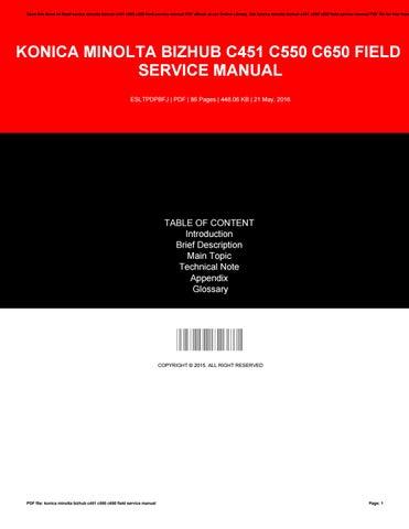 konica minolta bizhub c451 c550 c650 field service manual by rh issuu com konica minolta c451 service manual pdf konica minolta bizhub c451 service manual download