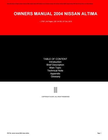 Owners manual suzuki grand vitara 2000 by niushna76bsism issuu owners manual 2004 nissan altima fandeluxe Gallery