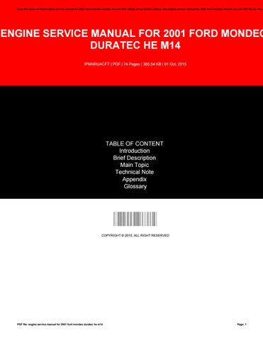 engine service manual for 2001 ford mondeo duratec he m14 by rh issuu com 3.0 Duratec Engine Ford 3.5 EcoBoost Engine