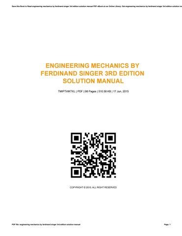 engineering mechanics by ferdinand singer 3rd edition