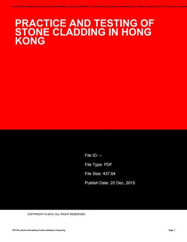 Practice and testing of stone cladding in hong kong by
