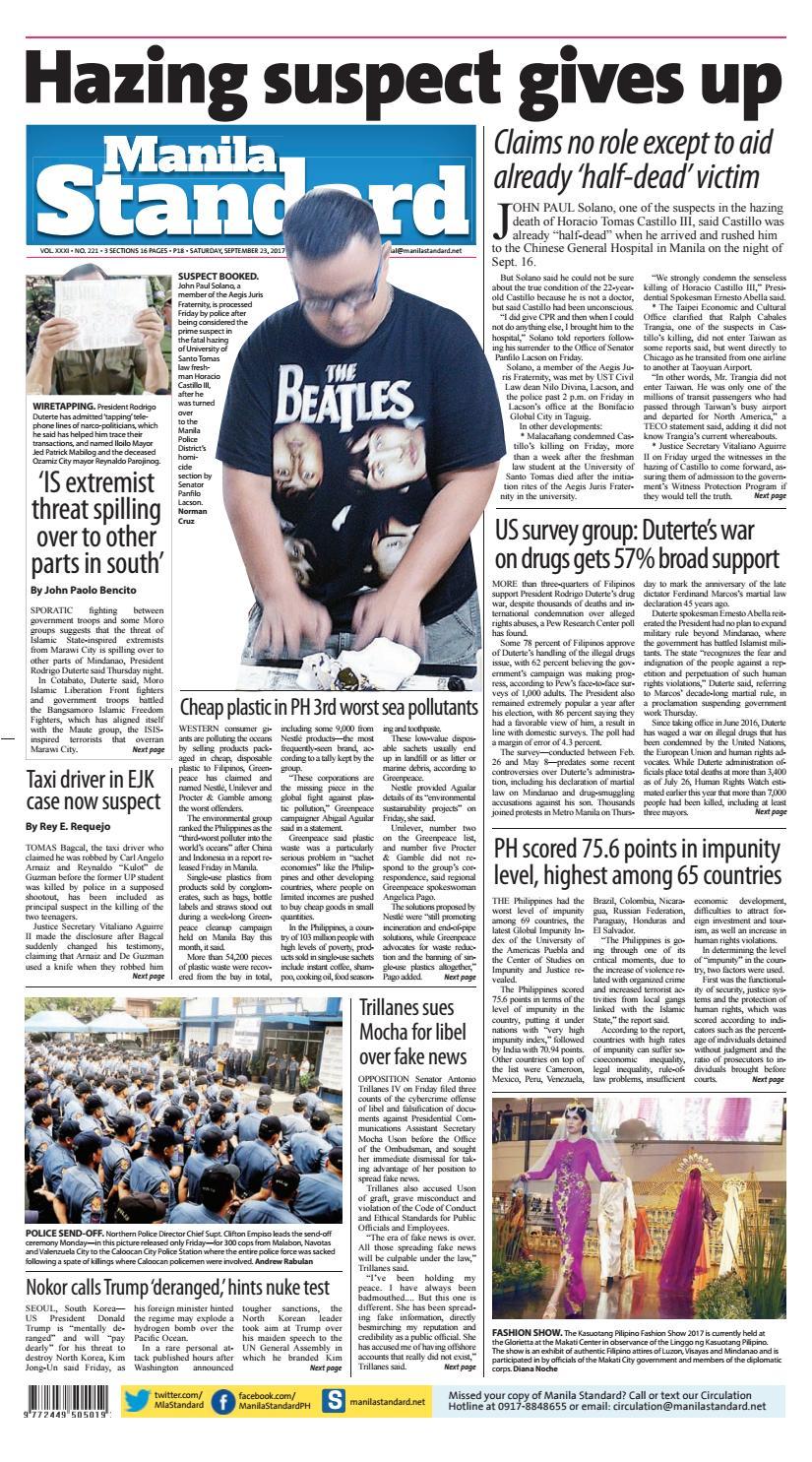 Manila Standard - 2017 September 23 - Saturday by Manila Standard