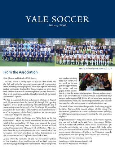 e2944c78d05 Yale Soccer Fall 2017 Newsletter by Yale Athletics - issuu