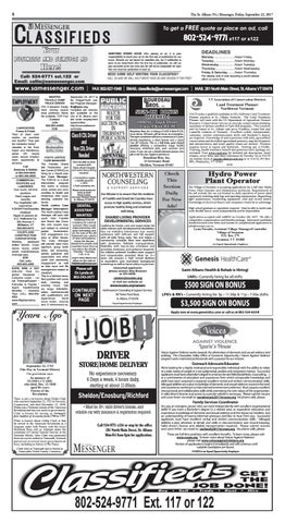 09/22/2017 Classifieds by St  Albans Messenger - issuu