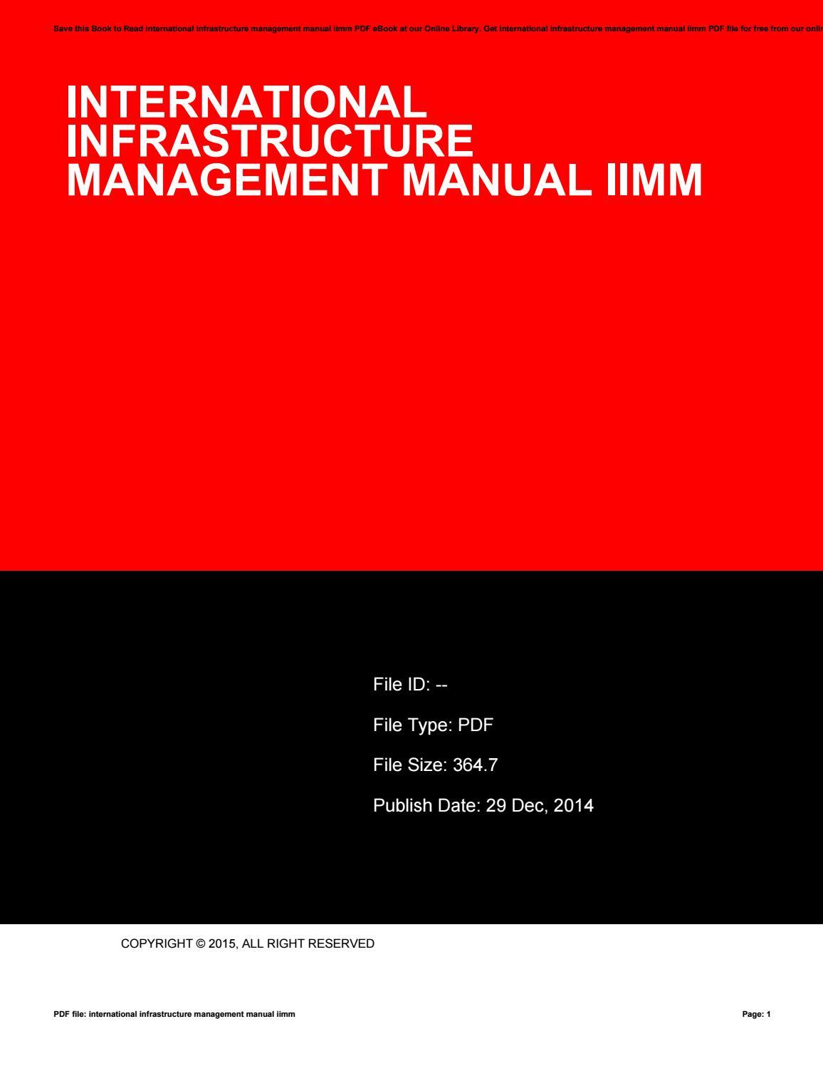 International infrastructure management manual iimm by CarolynGrunewald4327  - issuu