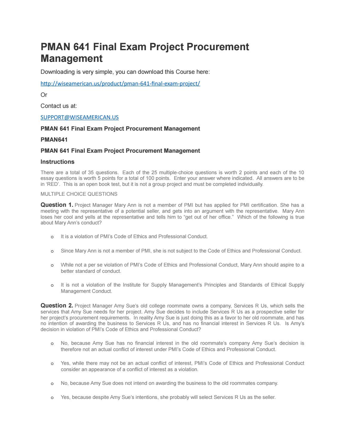 Pman 641 Final Exam Project Procurement Management By Jonathon Jon