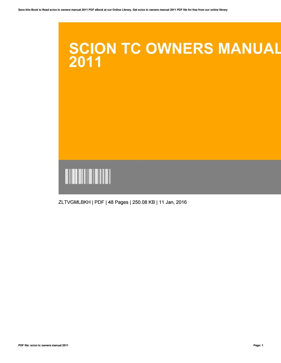 owners manual 2010 scion xd