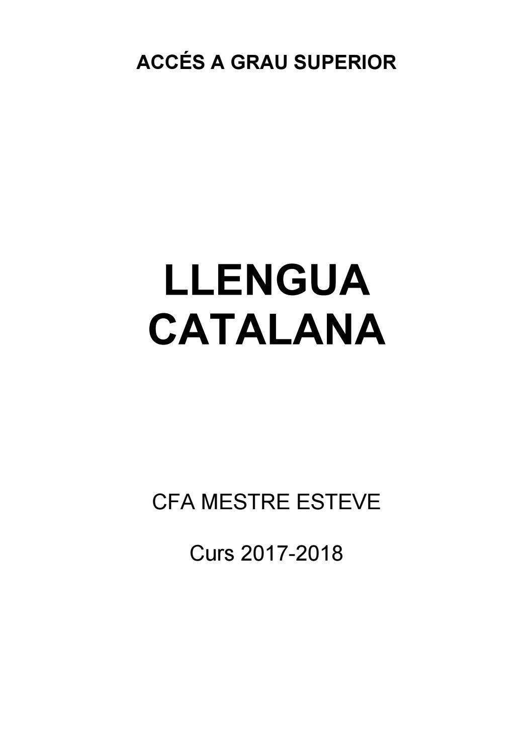 Dossier català Accès a Grau Superior 17-18 by Centre de Formació d'Adults  Mestre Esteve - issuu