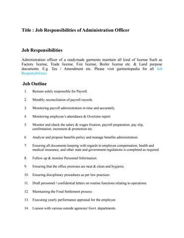 Title : Job Responsibilities Of Administration Officer
