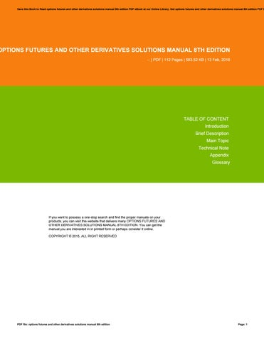 Options Futures And Other Derivatives 8th Pdf