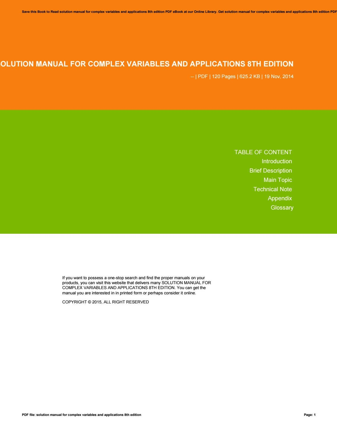 Solution manual for complex variables and applications 8th edition by  AnnalisaDicarlo2591 - issuu