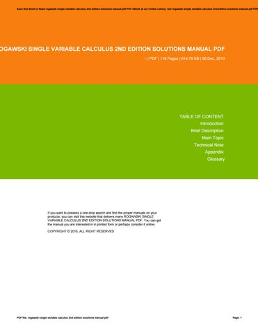 solutions manual rogawski second edition ebook