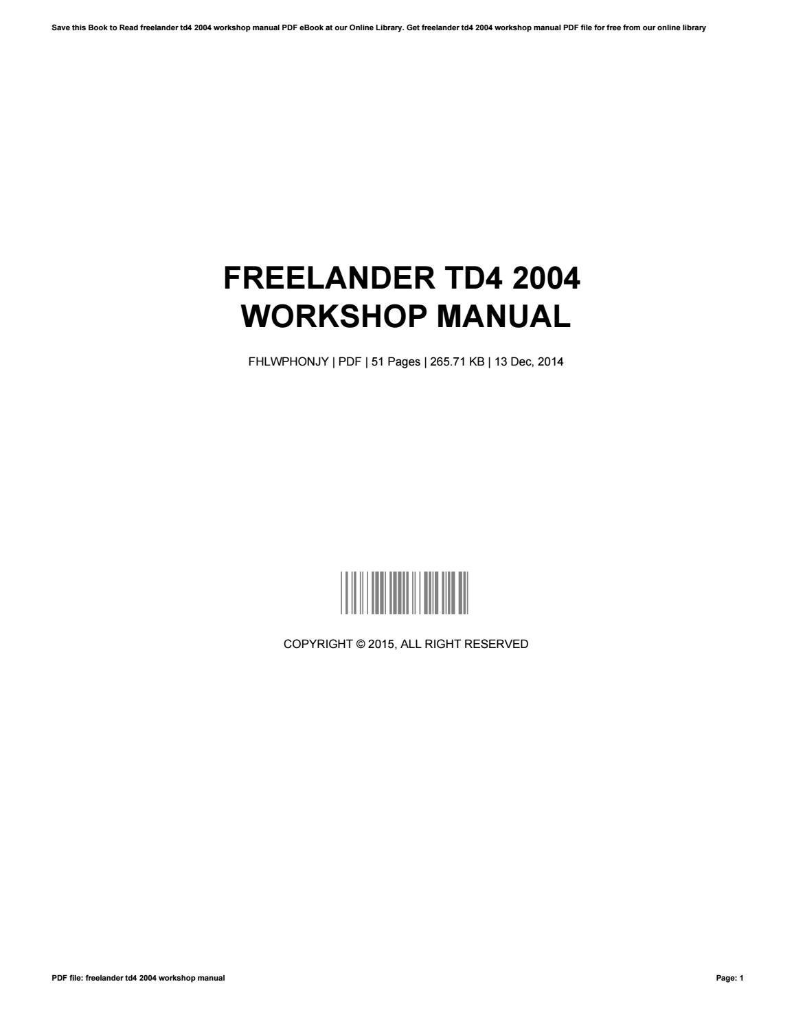 Freelander Workshop Manual Pdf