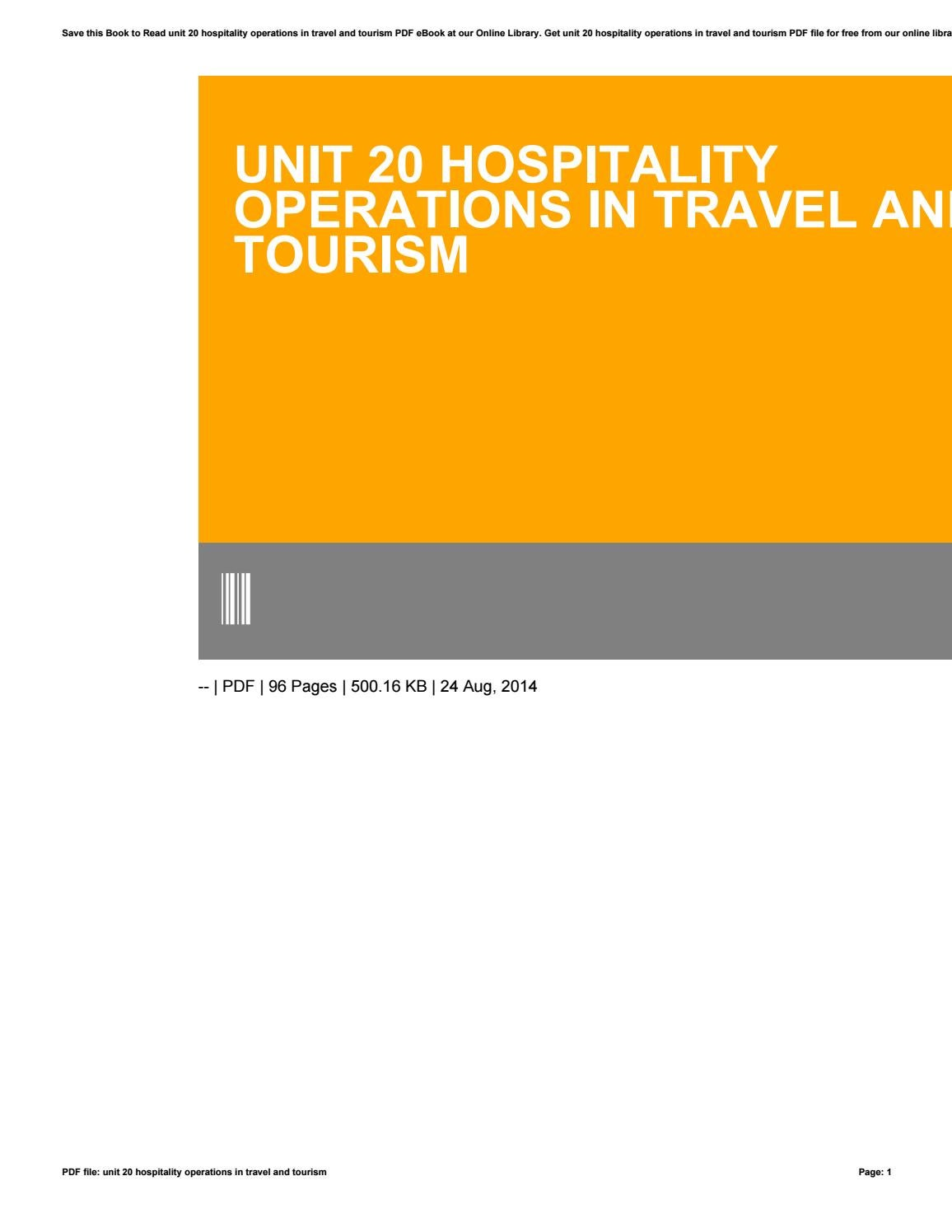 Unit 20 hospitality operations in travel and tourism by