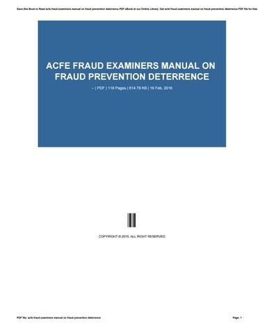 Fraud Examiners Manual Pdf