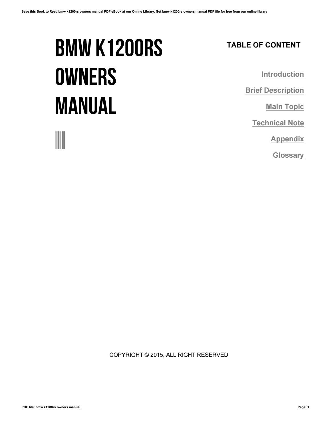 Bmw k1200rs owners manual by CherylCorey3913 - issuu